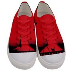 Girl Cat Scary Red Animal Pet Men s Low Top Canvas Sneakers