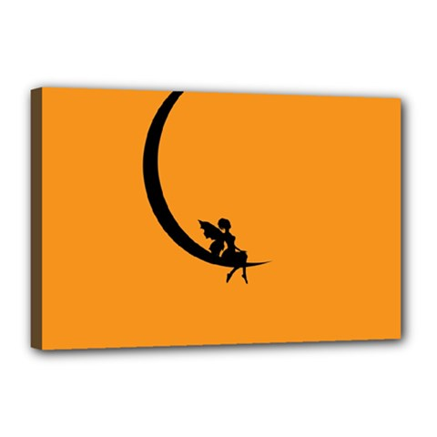 Angle Moon Scene Girl Wings Black Canvas 18  X 12