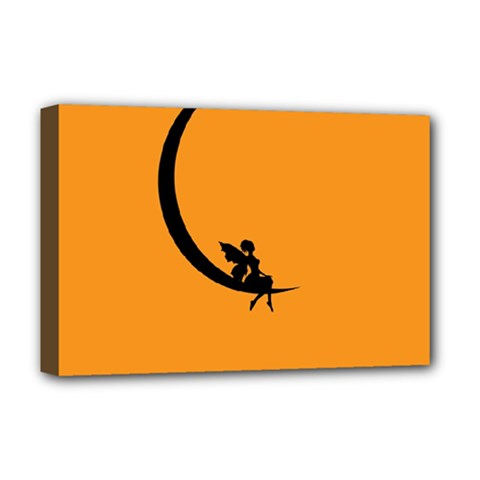 Angle Moon Scene Girl Wings Black Deluxe Canvas 18  X 12