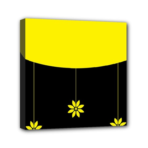 Flower Land Yellow Black Design Mini Canvas 6  X 6