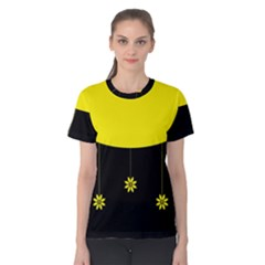 Flower Land Yellow Black Design Women s Cotton Tee