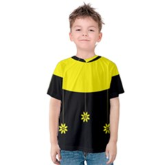Flower Land Yellow Black Design Kids  Cotton Tee
