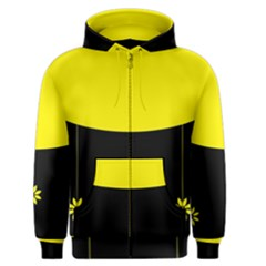 Flower Land Yellow Black Design Men s Zipper Hoodie