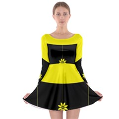 Flower Land Yellow Black Design Long Sleeve Skater Dress