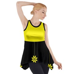 Flower Land Yellow Black Design Side Drop Tank Tunic