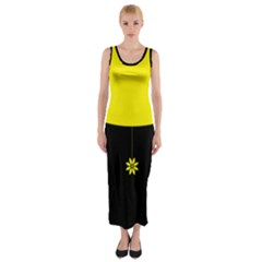 Flower Land Yellow Black Design Fitted Maxi Dress