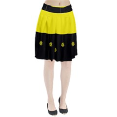 Flower Land Yellow Black Design Pleated Skirt