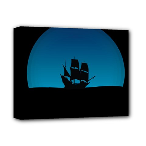 Ship Night Sailing Water Sea Sky Deluxe Canvas 14  X 11