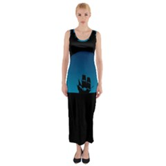 Ship Night Sailing Water Sea Sky Fitted Maxi Dress
