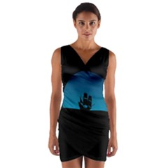 Ship Night Sailing Water Sea Sky Wrap Front Bodycon Dress