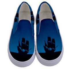 Ship Night Sailing Water Sea Sky Kids  Canvas Slip Ons