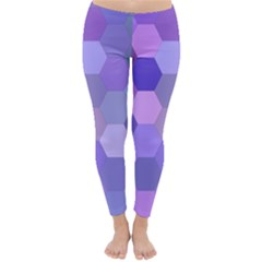 Purple Hexagon Background Cell Classic Winter Leggings