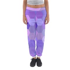 Purple Hexagon Background Cell Women s Jogger Sweatpants