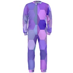 Purple Hexagon Background Cell Onepiece Jumpsuit (men)