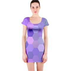 Purple Hexagon Background Cell Short Sleeve Bodycon Dress