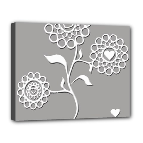 Flower Heart Plant Symbol Love Canvas 14  X 11