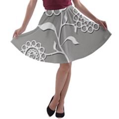 Flower Heart Plant Symbol Love A Line Skater Skirt