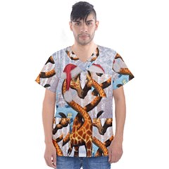 Christmas, Giraffe In Love With Christmas Hat Men s V Neck Scrub Top