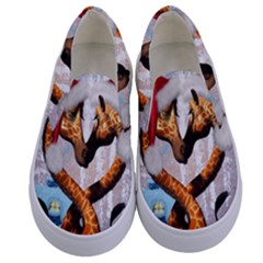 Christmas, Giraffe In Love With Christmas Hat Kids  Canvas Slip Ons