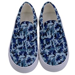 Navy Camouflage Kids  Canvas Slip Ons