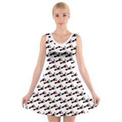 Custom V Neck Sleeveless Dress   Dom Black/red