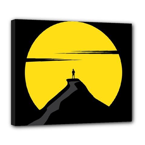 Man Mountain Moon Yellow Sky Deluxe Canvas 24  X 20