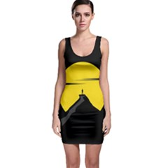 Man Mountain Moon Yellow Sky Bodycon Dress
