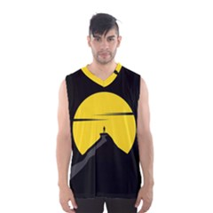 Man Mountain Moon Yellow Sky Men s Basketball Tank Top