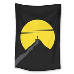 Man Mountain Moon Yellow Sky Large Tapestry