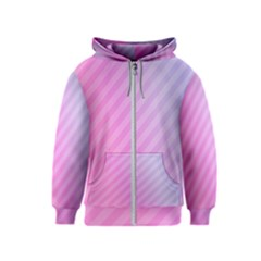 Diagonal Pink Stripe Gradient Kids  Zipper Hoodie