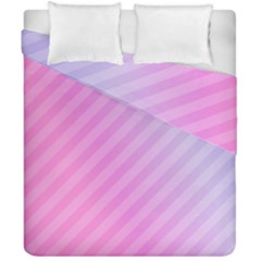 Diagonal Pink Stripe Gradient Duvet Cover Double Side (california King Size)