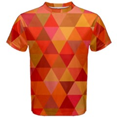 Red Hot Triangle Tile Mosaic Men s Cotton Tee