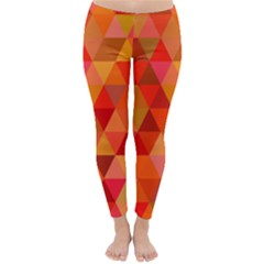 Red Hot Triangle Tile Mosaic Classic Winter Leggings