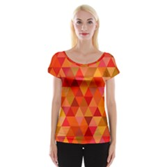 Red Hot Triangle Tile Mosaic Cap Sleeve Tops