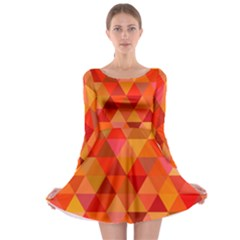Red Hot Triangle Tile Mosaic Long Sleeve Skater Dress