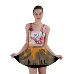 City Buildings Couple Man Women Mini Skirt