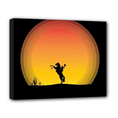Horse Cowboy Sunset Western Riding Deluxe Canvas 20  X 16