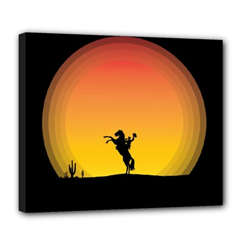 Horse Cowboy Sunset Western Riding Deluxe Canvas 24  X 20