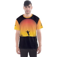 Horse Cowboy Sunset Western Riding Men s Sports Mesh Tee