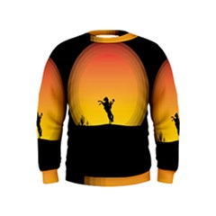 Horse Cowboy Sunset Western Riding Kids  Sweatshirt