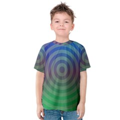 Blue Green Abstract Background Kids  Cotton Tee