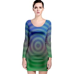 Blue Green Abstract Background Long Sleeve Bodycon Dress