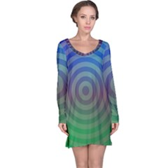 Blue Green Abstract Background Long Sleeve Nightdress