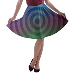 Blue Green Abstract Background A Line Skater Skirt