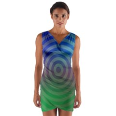 Blue Green Abstract Background Wrap Front Bodycon Dress