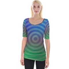 Blue Green Abstract Background Wide Neckline Tee