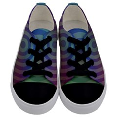 Blue Green Abstract Background Kids  Low Top Canvas Sneakers