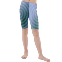 Teal Background Concentric Kids  Mid Length Swim Shorts