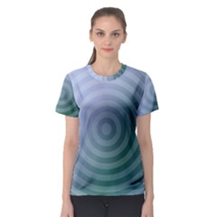 Teal Background Concentric Women s Sport Mesh Tee
