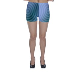 Teal Background Concentric Skinny Shorts